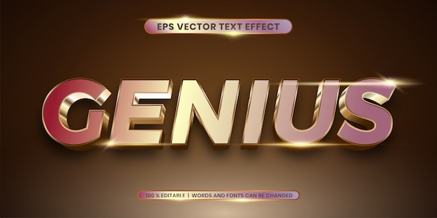 Эффект стиля genius gold shadow Premium векторы