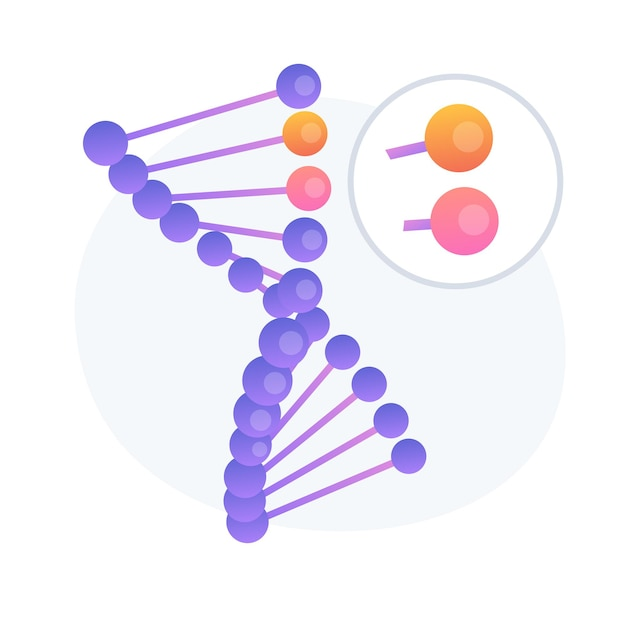 Genome modification, dna sequence alteration. future science, biotechnology study, bioengineering idea design element. genetic structure analysis. vector isolated concept metaphor illustration Free Vector