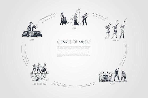 Жанры музыки рисованной cicle Premium векторы