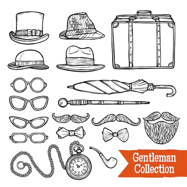 Gentelman vintage accessories doodle black set Free Vector
