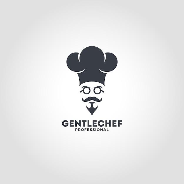 Gentle chef logo template Premium Vector
