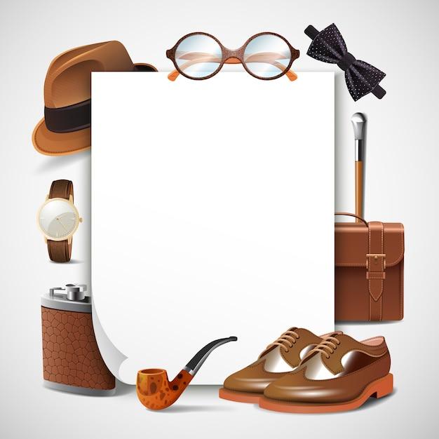Cornice realistica per accessori da uomo Vettore gratuito