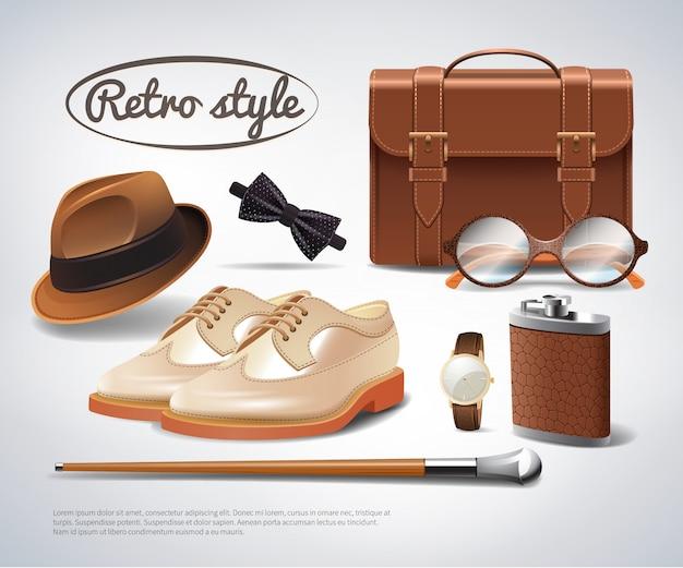 Gentleman accessories set realistico Vettore gratuito