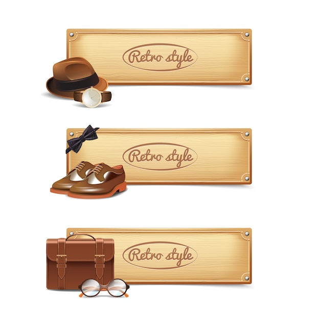 Gentleman banner set Free Vector