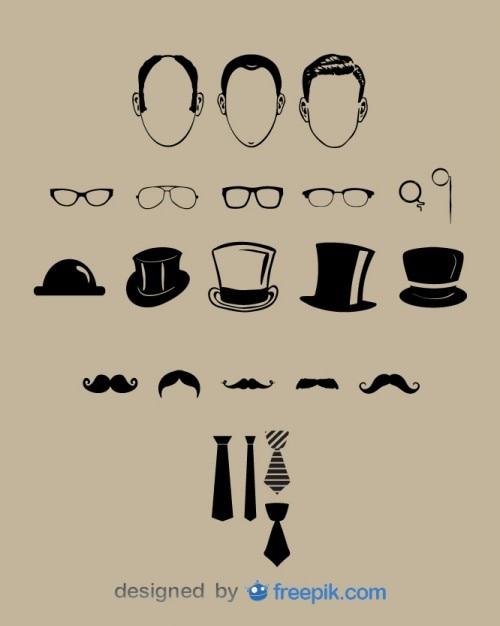 Gentleman classic look graphic elements Free Vector