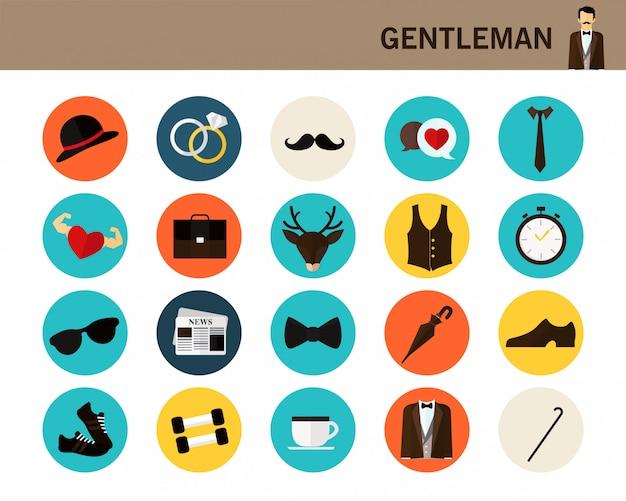 Gentleman concept flat icons. Premium Vector