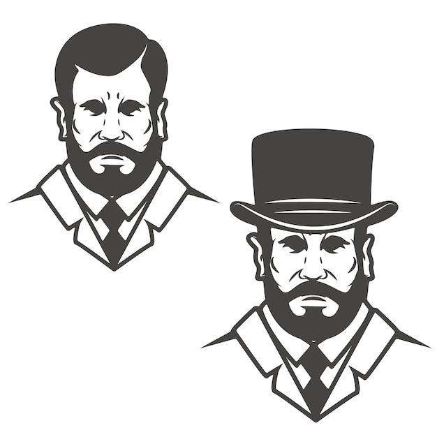 Premium Vector Gentleman Head With Vintage Hat Elements For Logo Label Emblem Illustration