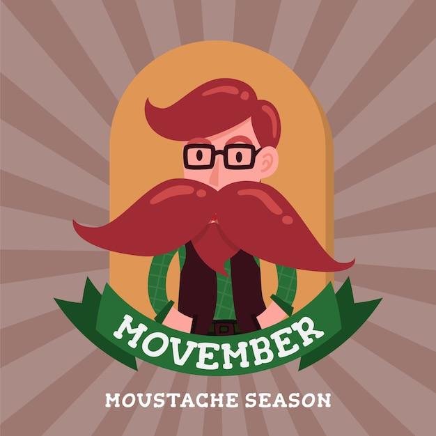 Gentleman hipster cartoon character movember badge Premium Vector