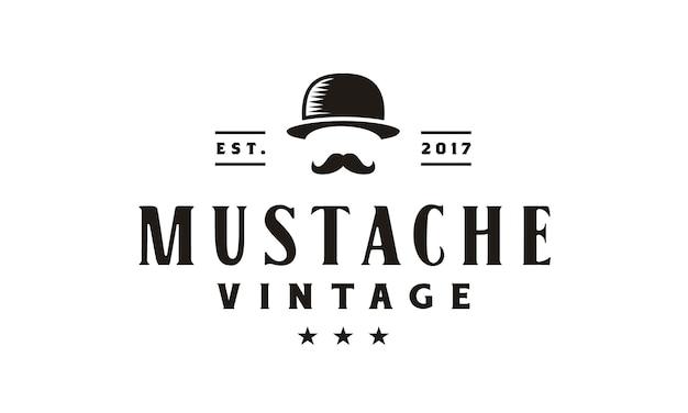 Gentleman hipster vintage logo design Premium Vector