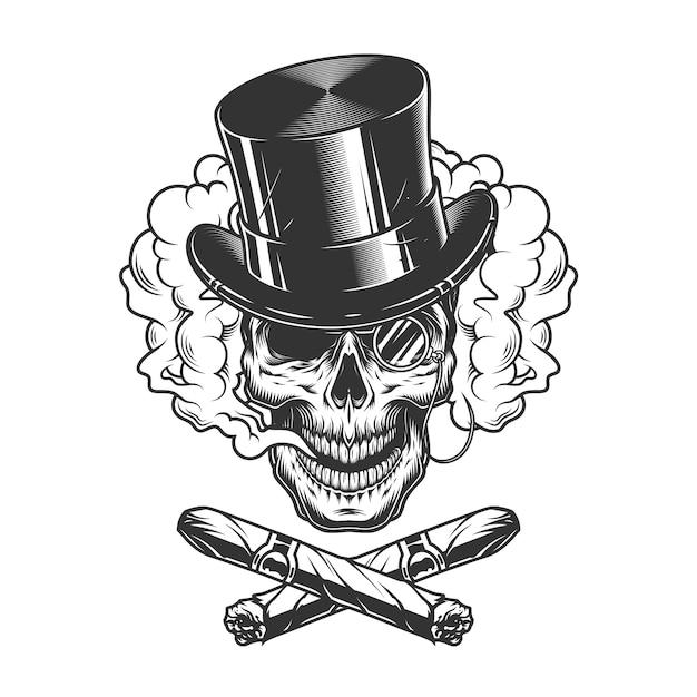Gentleman skull wearing cylinder hat Free Vector