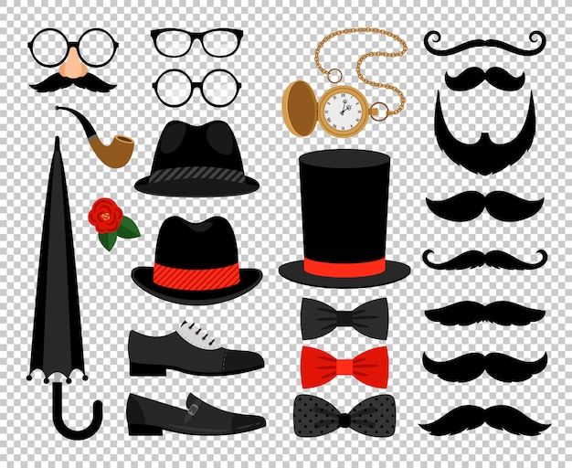 Gentleman vintage accessories Premium Vector