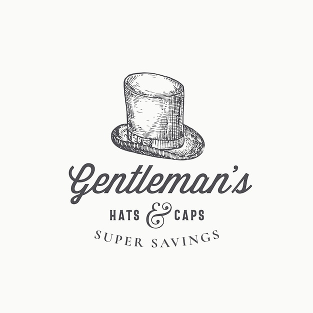 Gentlemans top hat abstract  sign, symbol or logo template. Free Vector