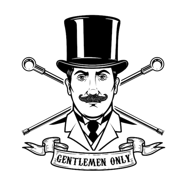Gentlemen club emblem template.  element for logo, label, emblem, sign.  illustration Premium Vector