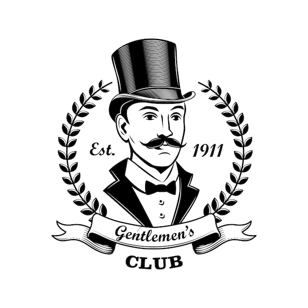 Gentlemen club emblem vector illustration. man in smoking and top hat, laurel wreath frame. bar, pub or shop concept for labels or badges templates Free Vector