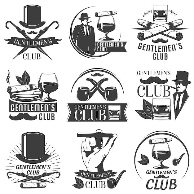 紳士クラブラベルセット 無料ベクター