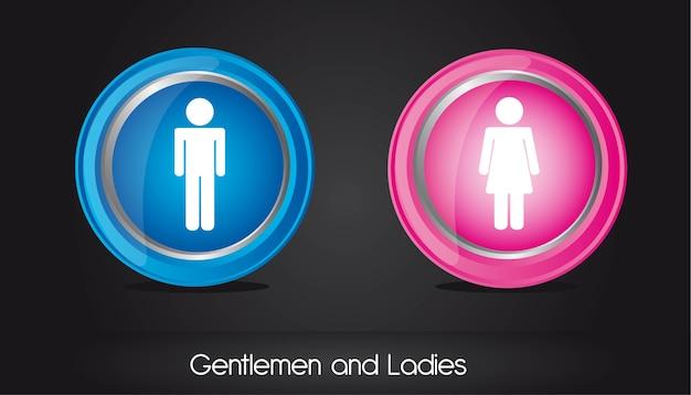 Gentlemen and ladies circle sign Premium Vector