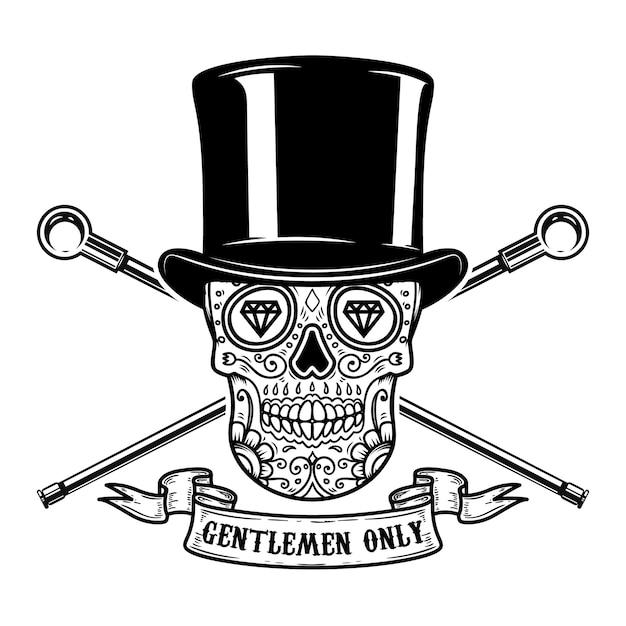 Только для мужчин. мексиканский сахарный череп в винтажной шляпе и скрещенных тростях. образ Premium векторы