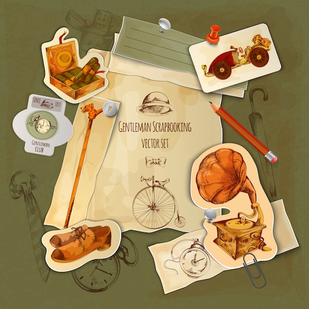 Gentlemen scrapbooking set Free Vector