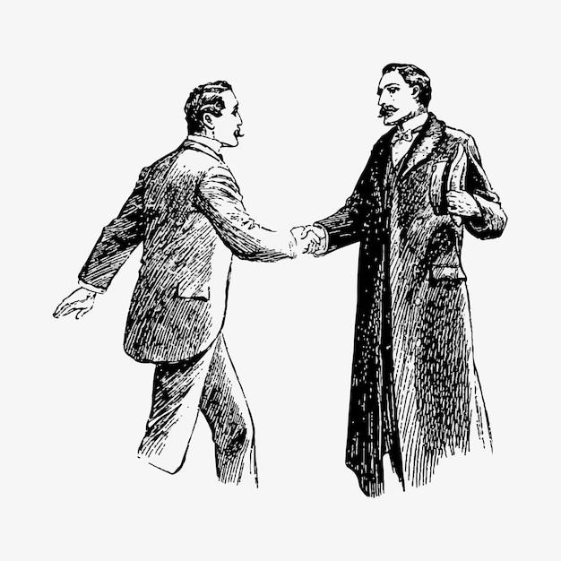 Gentlemen shaking hands Free Vector