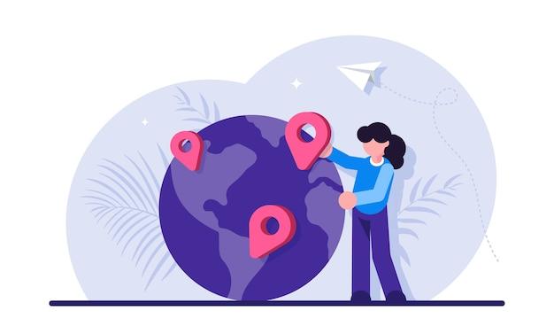 地理的な場所、世界のナビゲーション、旅行先の選択、旅行または旅行の計画。 Premiumベクター