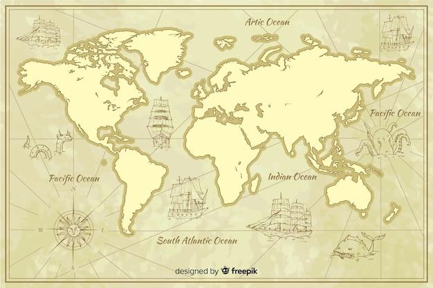 Geographic vintage map worldwilde Free Vector