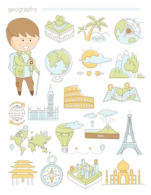 地理と旅行、教師地理学者落書きスタイルの大きなセット Premiumベクター