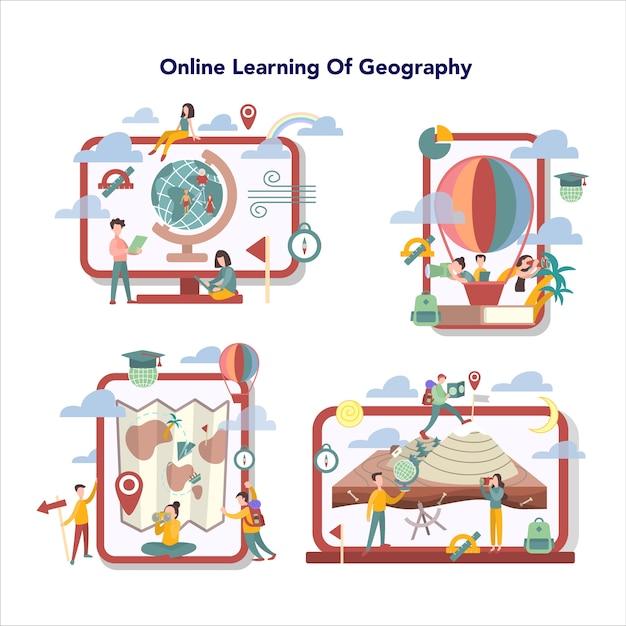 地理オンライン教育サービスセット。地球の土地、特徴、住民を研究するグローバルサイエンス。地理オンライン学習の要約。 Premiumベクター