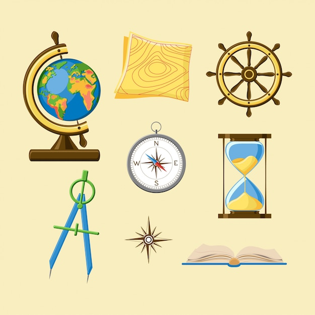 Geography set with globe, topography map, ship wheel, compass, hourglass, windrose and boo Premium Vector