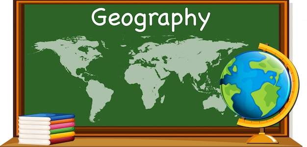 Geography subject with worldmap and books Vector | Free Download