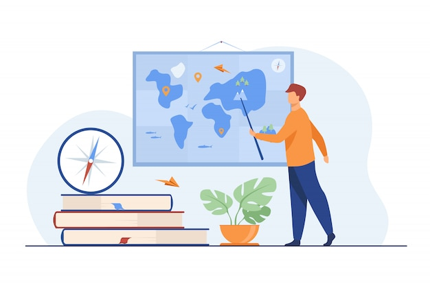 Geography teacher in class Free Vector