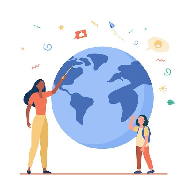 Insegnante di geografia che spiega la lezione all'allievo. donna con puntatore e ragazza all'illustrazione piana del modello del pianeta. Vettore gratuito
