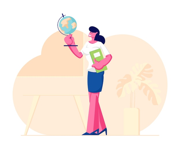 Женщина-учитель географии, держащая глобус и классный журнал, стоит в классе Premium векторы