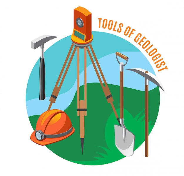 Geological tools measuring device helmet shovel hammer and pick isometric composition on blue green Free Vector