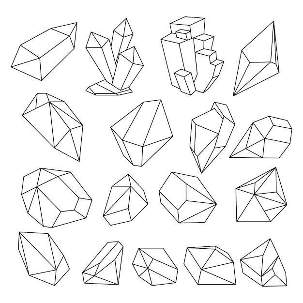 Geometric 3d crystal line shapes  set Premium Vector