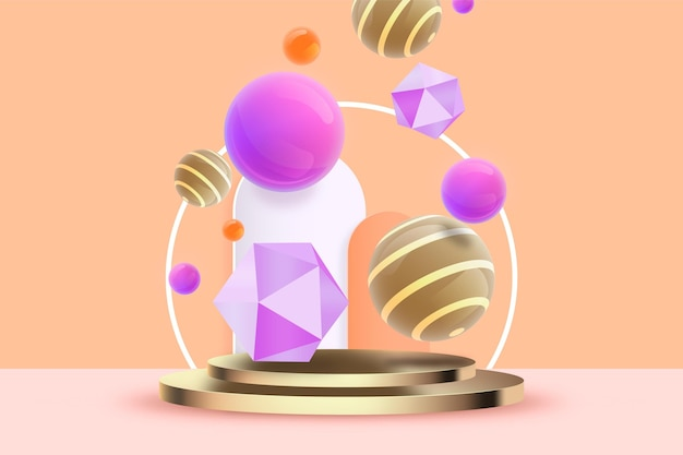 Геометрические 3d фигуры фон Бесплатные векторы