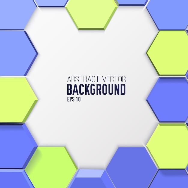 Геометрический абстрактный фон с 3d синими и зелеными шестиугольниками в стиле мозаики Бесплатные векторы