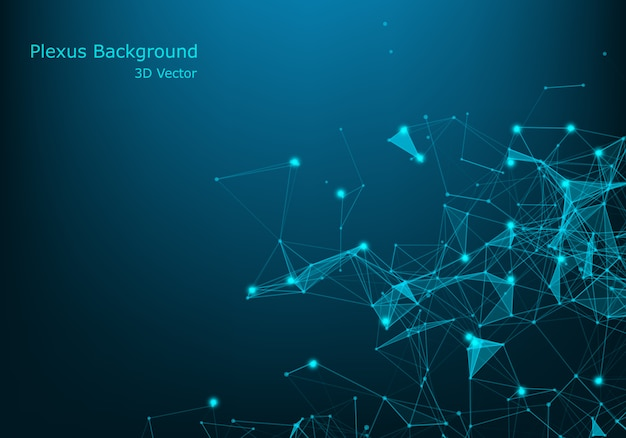Geometric abstract background with connected line and dots. big data visualization. global network connection vector. Premium Vector