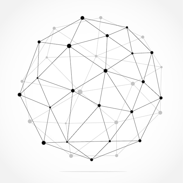 Geometric abstract background with connected line and dots. Premium Vector