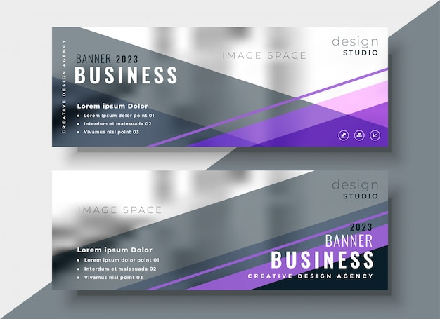 Geometric abstract business banners design Free Vector