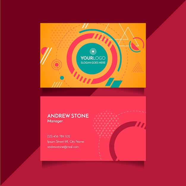 Geometric abstract business card Free Vector