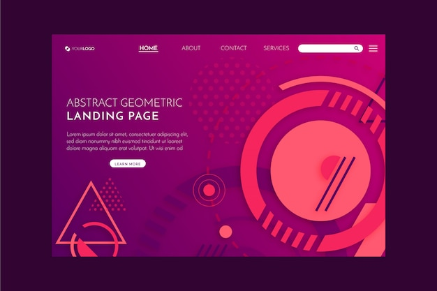 Geometric abstract landing page Free Vector