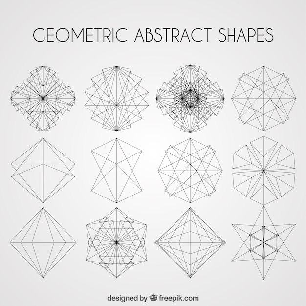 Line And Shape Art : Geometric abstract shapes pack vector free download