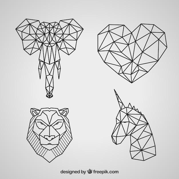 Geometric animal tattoo collection Free Vector