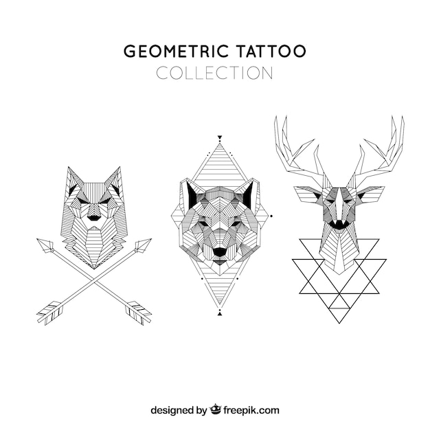 Geometric animals tattoo collection Vector   Free Download