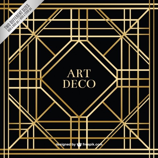 Art Deco Line Design : Geometric art deco background vector free download
