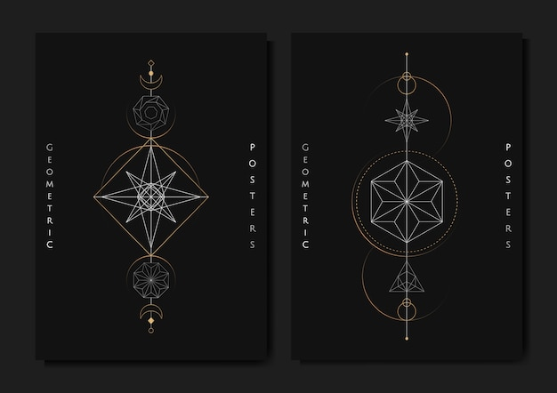 Geometric astrological symbols tarot card Free Vector