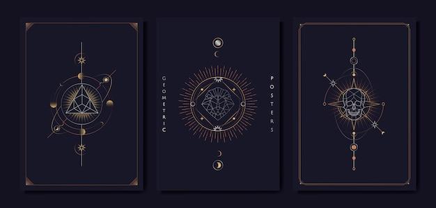 Geometric astrological symbols tarot card Free Vector