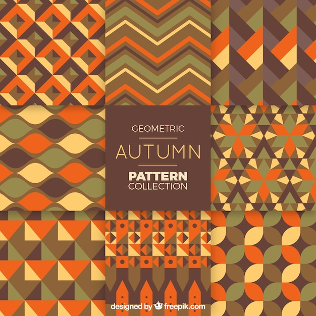 Geometric autumn pattern collection
