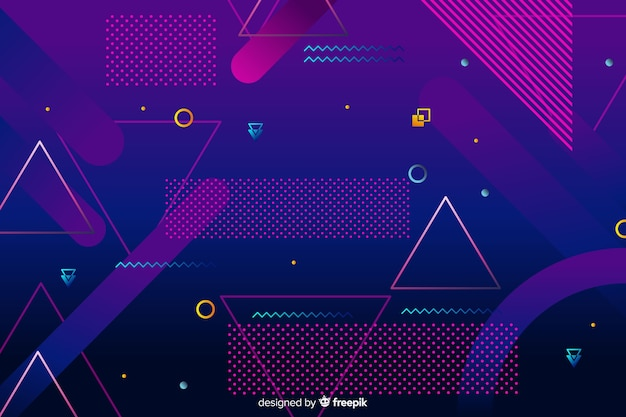 Geometric background in 80s style Vector | Free Download