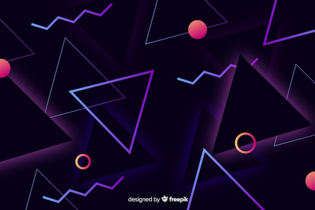 Geometric background in 80s style Free Vector